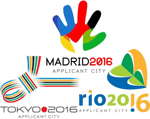 2016 Applicant City Logos der Bewerbungen aus Madrid, Rio und Tokio