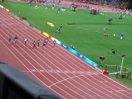 Blick auf den 100m-(Vor)Lauf, Peking, 15.08.2008