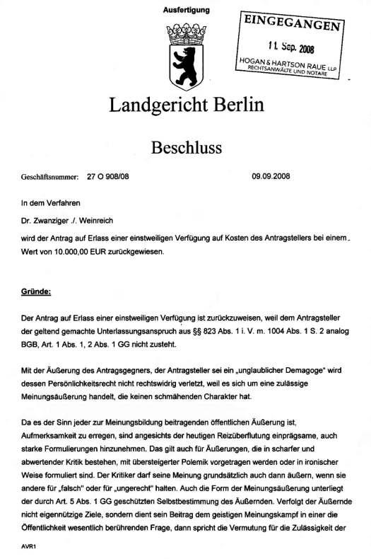 Landgericht Berlin, Beschluss 09.09.2008, 1/2