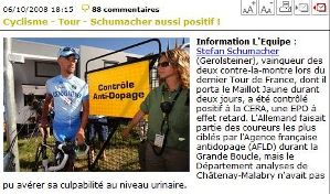 "screenshot lequipe: ""Schumacher aussi positif!"""