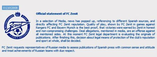 Screenshot: Official statement of FC Zenit