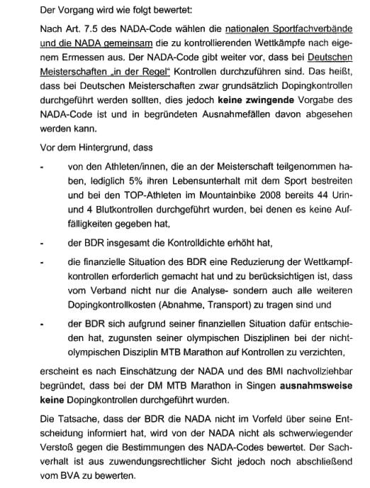 BDR-Argumente für Verzicht auf Doping-Kontrollen bei den Mountainbike-Meisterschaften