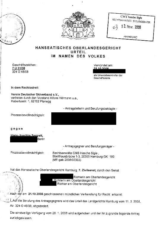 DSV ./. Hajo Seppelt - Urteil des OLG HH (1/5)