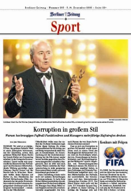 """Berliner Zeitung, Sportteil: Foto Sepp mit dem Bambi - """"Korruption in großem Stil"""""""