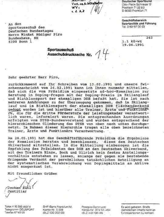 DSB-Justitiar Jochen Kühl an Herrn MinRat Rüdiger Piro