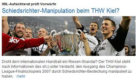 Schiedsrichter-Manipulation beim THW Kiel? -- HBL-Aufsichtsrat prüft Vorwürfe