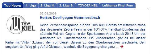 Top News THW Kiel: Heißes Duell gegen Gummersbach