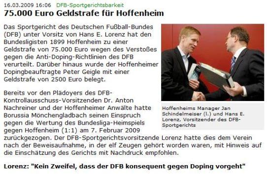 """Screenshot der PM auf dfb.de: """"75.000 Euro Geldstrafe für Hoffenheim"""""""