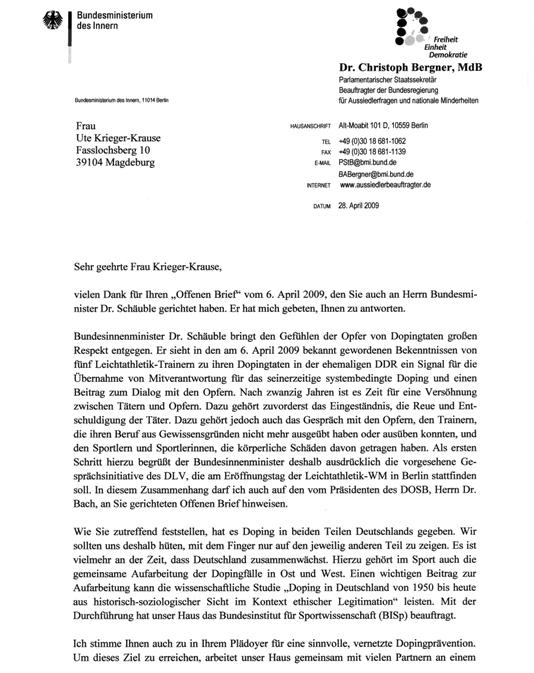 Brief Bergner/Schäuble an UKK, Seite 1/2
