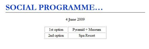 Screenshot IHF Congress 2009 -- 1st option: Pyramid + Museum; 2nd option: Spa Resort