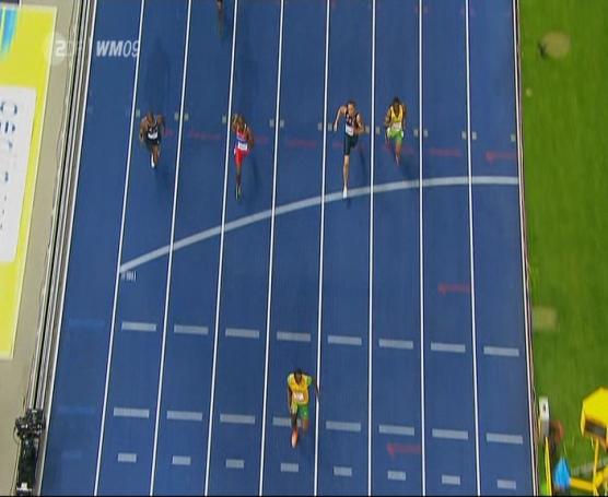 Finale 200m Männer, Zieleinlauf von oben, Screenshot ZDF