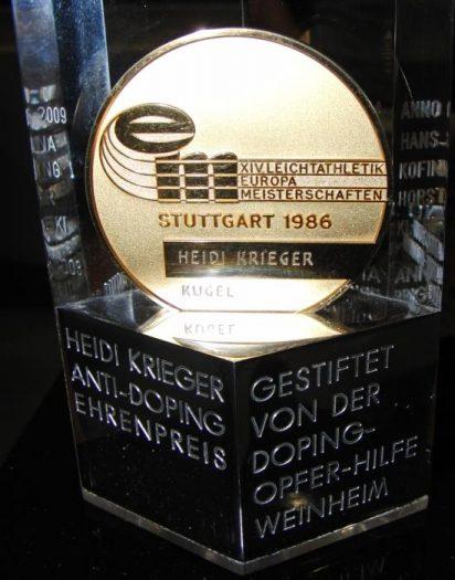 Heidi Krieger Anti-Doping Ehrenpreis, gestiftet von der Doping-Opfer-Hilfe Weinheim