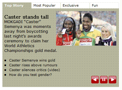 "Screenshot SA Times: ""Caster stands tall"""