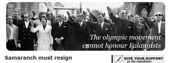 The olympic movement cannot honour Falangists - Samaranch must resign