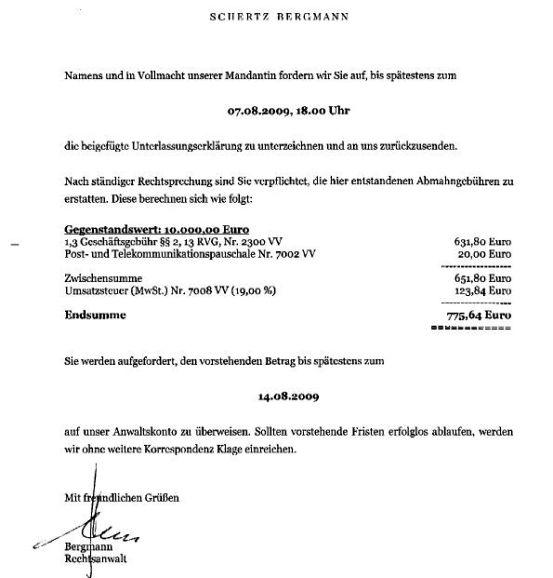 Unterlassung Pechstein ./. Weinreich