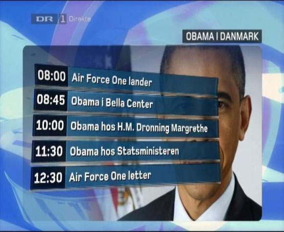 "Obama Zeitplan für Kopenhagen: ""08:00 Air Force One lander"" - 12:30 ""Air Force One letter"""