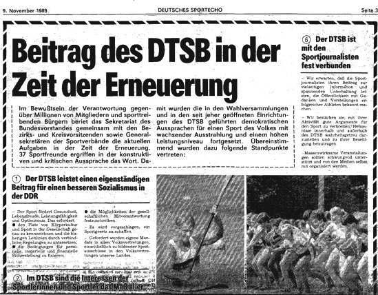 """Deutsches Sportecho, 9. November 1989: """"Beitrag des DTSB in der Zeit der Erneuerung"""" (1/2)"""