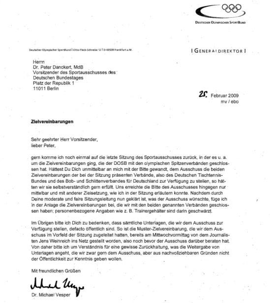 Brief von DOSB-General Vesper an den lieben Peter Danckert, Februar 2009, Betreff: Zielvereinbarungen