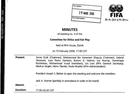 Protokoll-Deckblatt von Sitzung 4 der FIFA-Ethik-Kommission, 15.02.2006