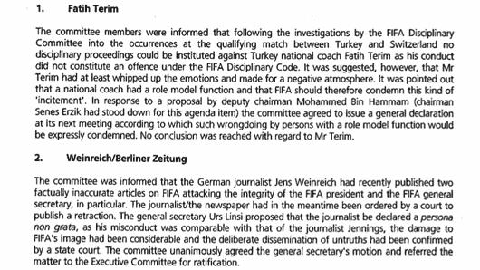 Auszug aus dem Protokoll von Sitzung 4 der FIFA-Kommission für Ethik und Fairplay, 15.02.2006