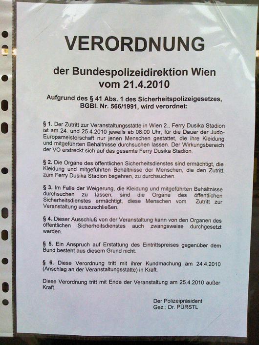 VERORDNUNG der Bundespolizeidirektion Wien vom 21.4.2010