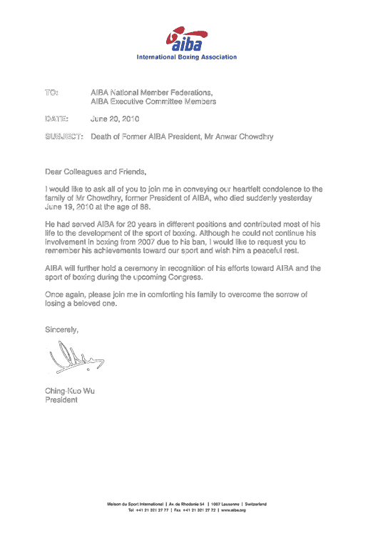 Condolence Letter from AIBA President Wu to National Member Federations, ExCo Members, June 20, 2010