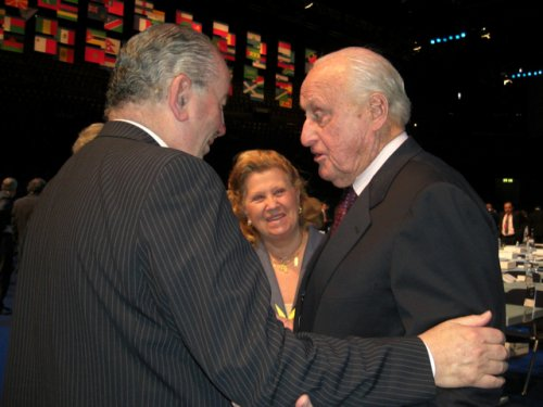 Time to say goodbye: Don Julio Grondona, Señora Grondona, Jean-Marie Faustin Godefroid de Havelange.