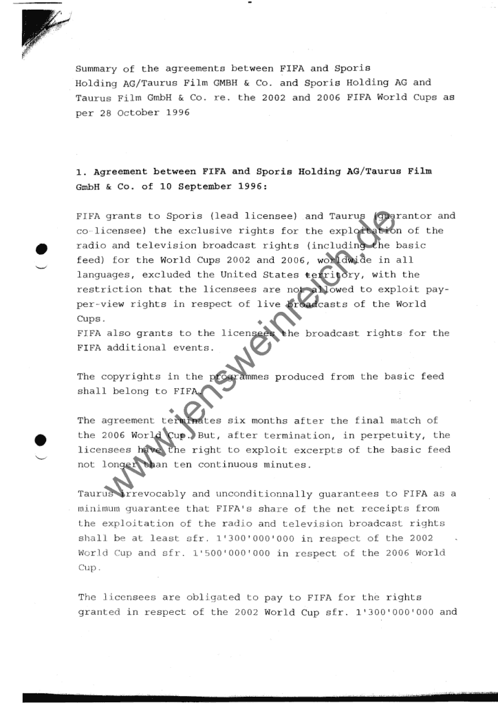 Summary of the agreements bw FIFA and Sporis Holding/Taurus Film re. 2002/06 FIFA World Cups; 28.10.1996