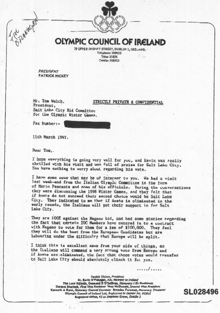 letter from pat hickey (OCI) to tom welch (SLC bid committee) 1/2