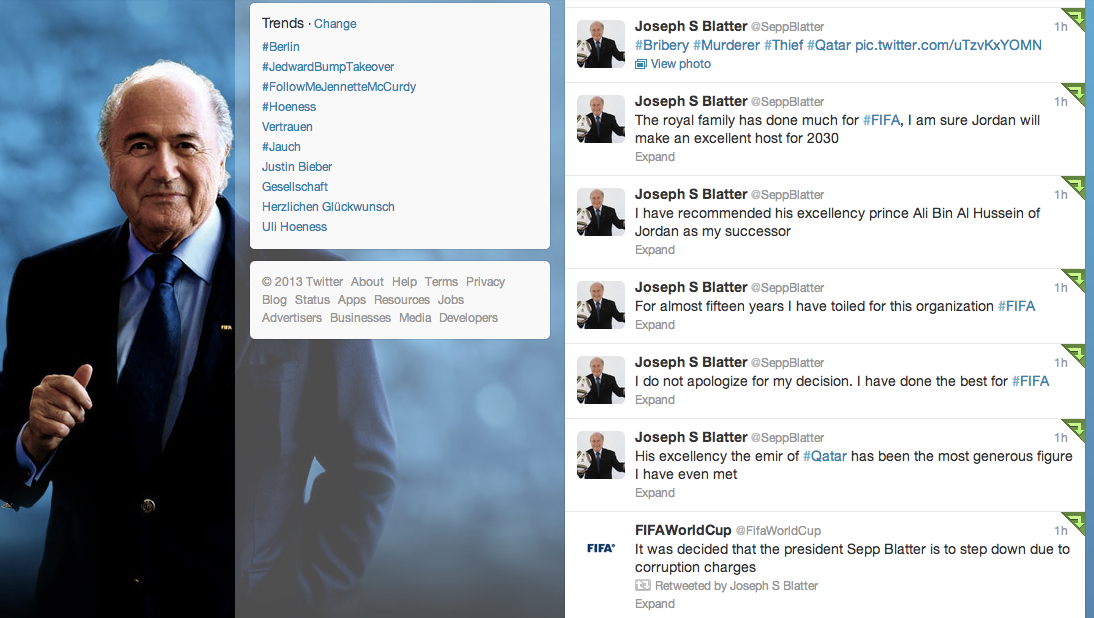 Screenshot Twitter @SeppBlatter, 22. April 2013, 20.09 Uhr MESZ
