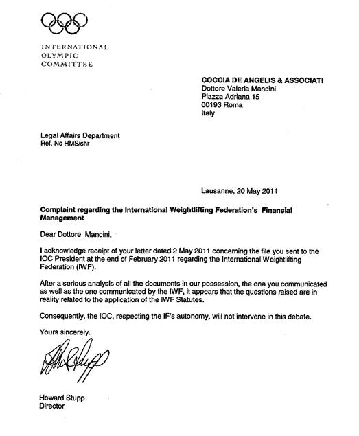 IOC letter IWF