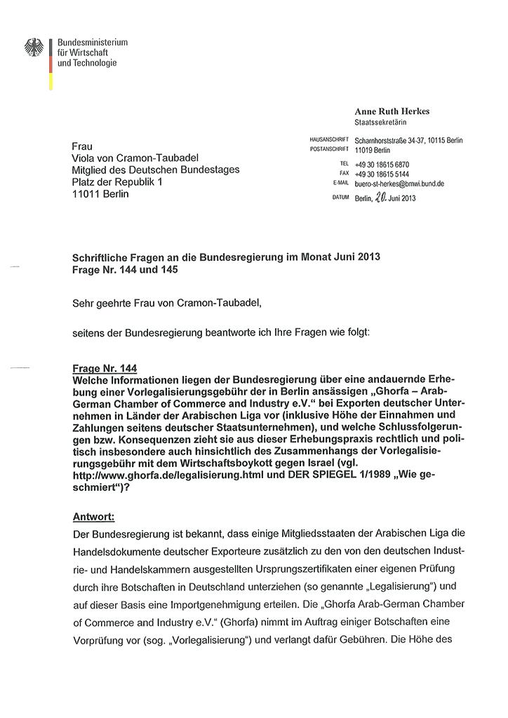 Antworten der Bundesregierung auf die Anfragen 6-2013-144 und 145 von MdB Viola von Cramon-Taubadel (Seite 1/2)