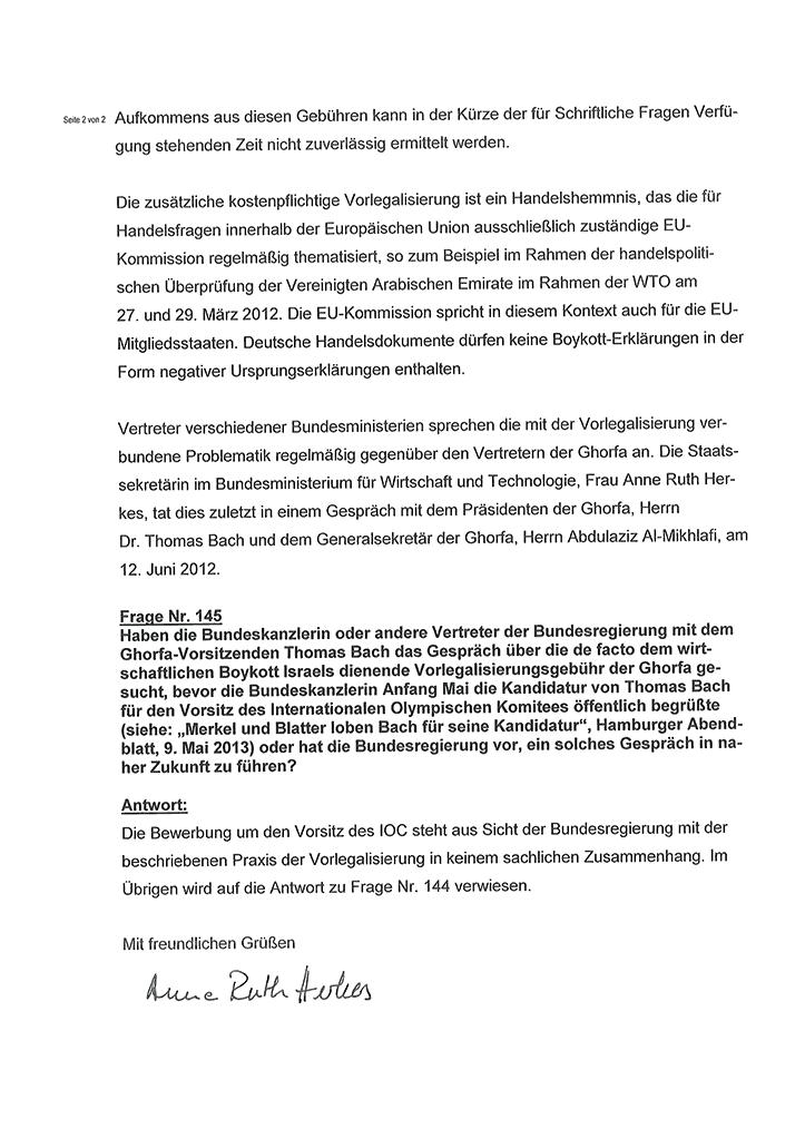 Antworten der Bundesregierung auf die Anfragen 6-2013-144 und 145 von MdB Viola von Cramon-Taubadel (Seite 2/2)