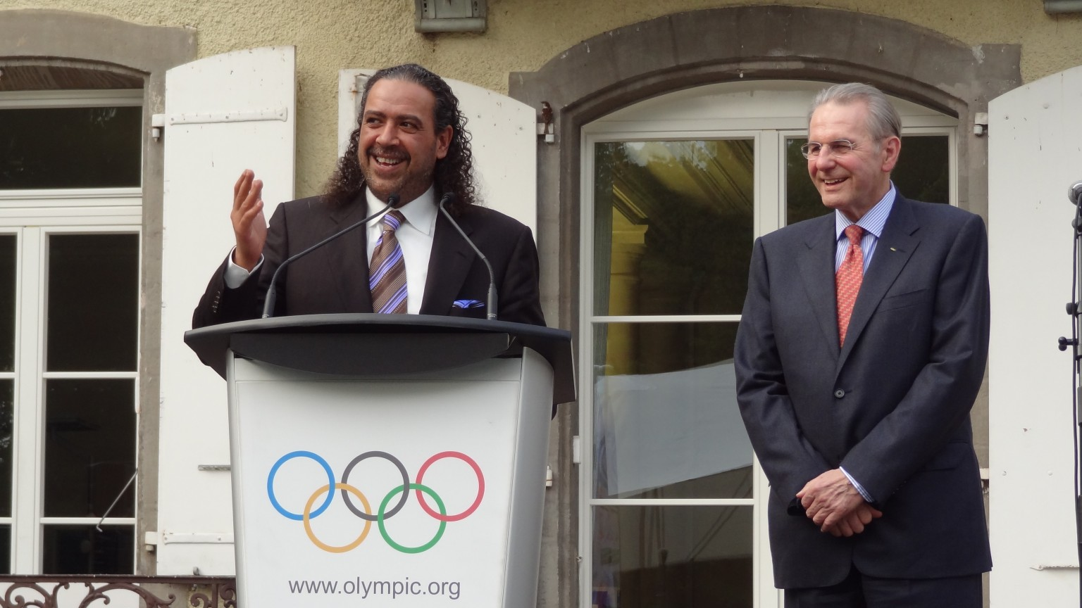 "IOC's garden party, June 2013: Sheikh Ahmed, ""President Jacques"", as the Sheikh use to say"