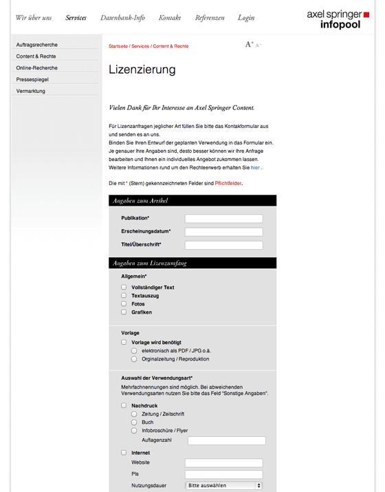 Axel Springer AG Infopool - Lizenzierungs-Service-Website