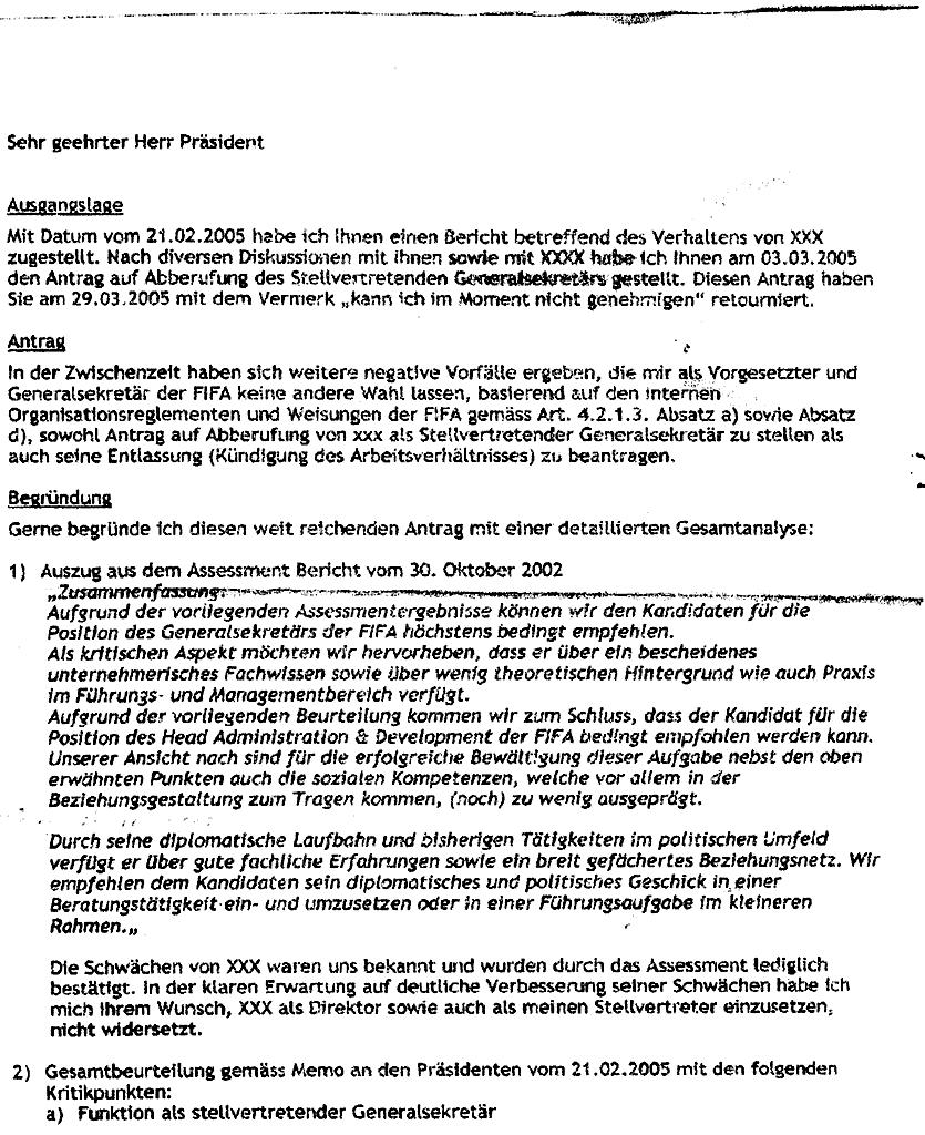 Memo von Linsi an Blatter von 2005