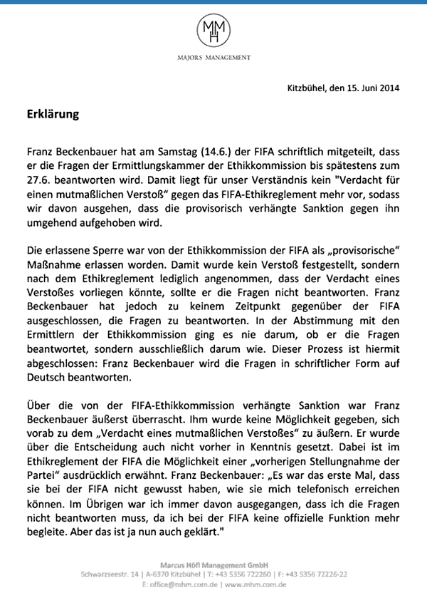 Erklärung Beckenbauers zur FIFA-Sperre, 15.06.2014
