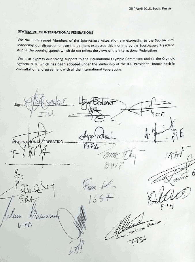 We the undersigned Members of the SportAccord Association are expressing to the SportAccord leadership our disagreement on the opinions expressed this morning by the SportAccord President...
