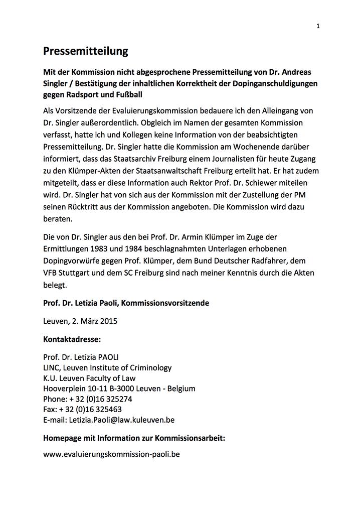 Prof. Paoli, Vorsitzende Evaluierungskommission, 1. Pressemitteilung vom 2. März 2015