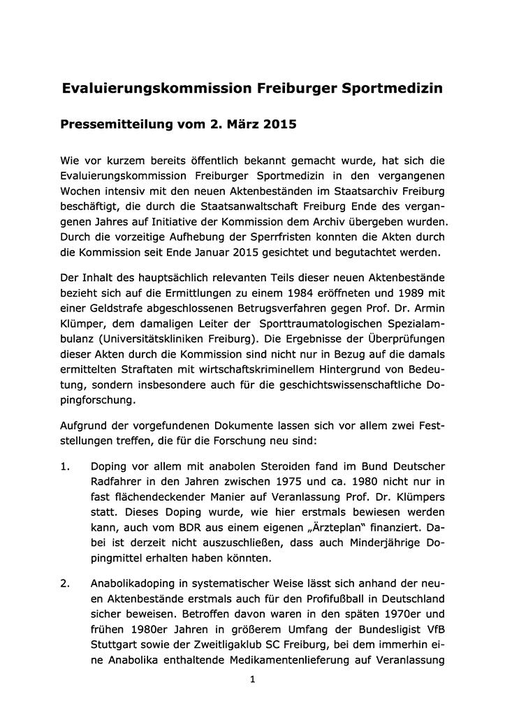 Evaluierungskommission Freiburger Sportmedizin - Pressemitteilung vom 2. März 2015; Seite 1
