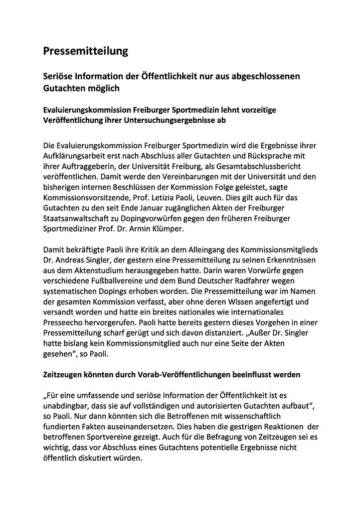 Prof. Paoli, Vorsitzende Evaluierungskommission, 2. Pressemitteilung vom 2. März 2015; Seite 1