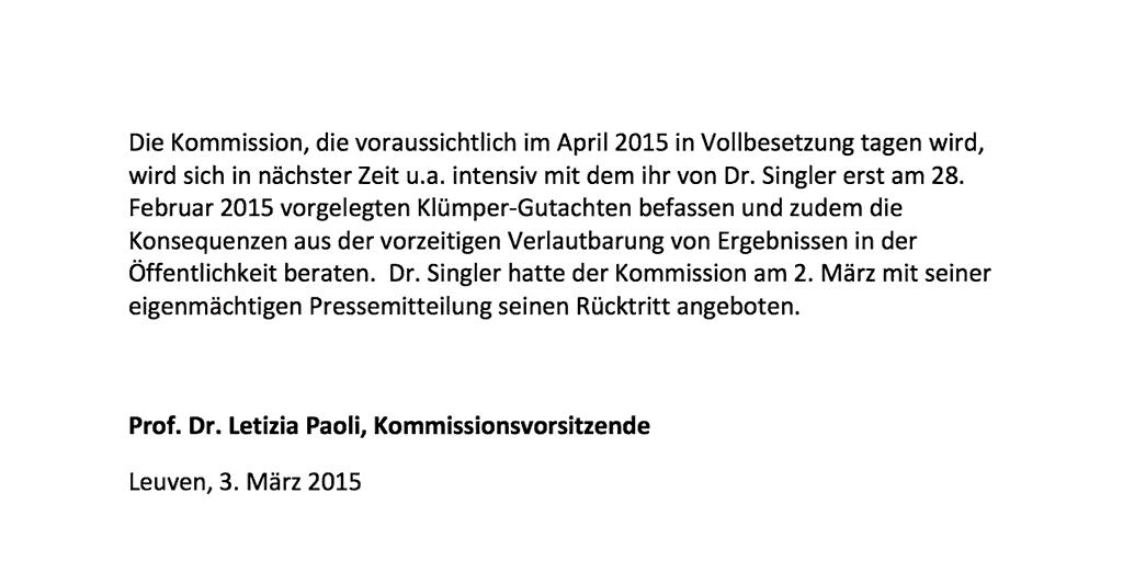 Prof. Paoli, Vorsitzende Evaluierungskommission, 2. Pressemitteilung vom 2. März 2015; Seite 2