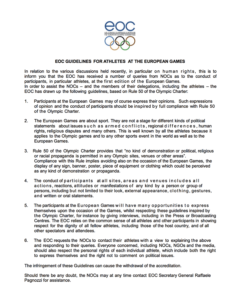 EOC guidelines for athletes at the European Games