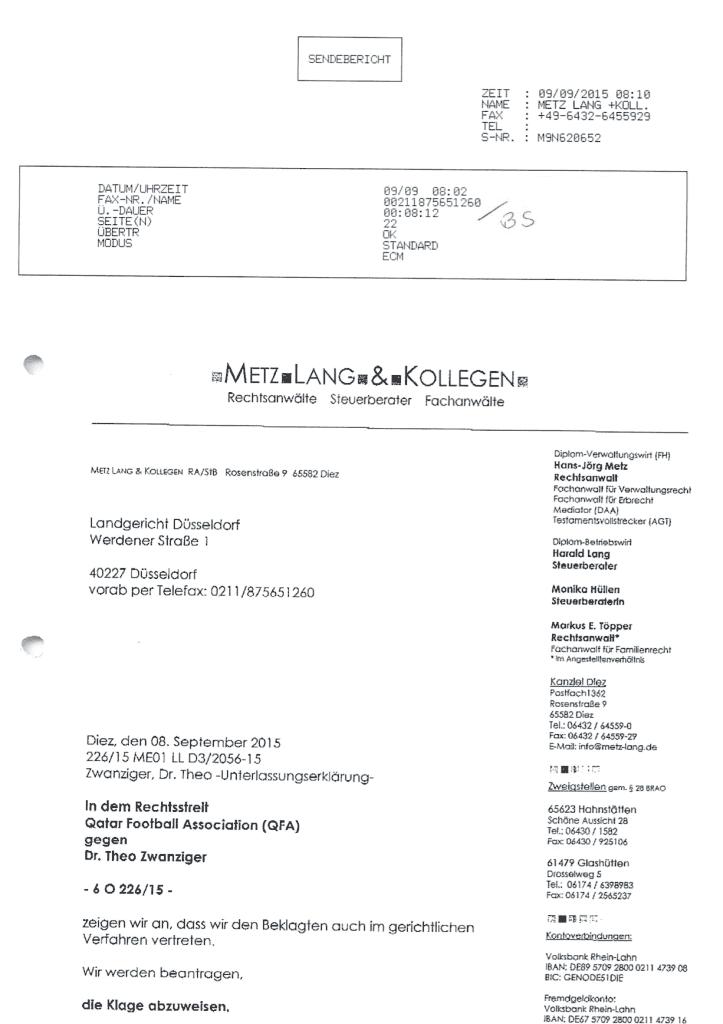 Sendebericht: Fax ans LG Düsseldorf
