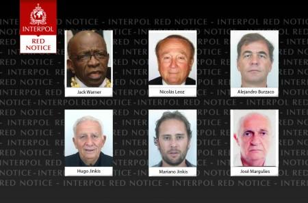 Interpol Red Notices vom 3. Juni 2015: Jack Warner, Nicolás Leoz, Alejandro Burzaco, Hugo Jinkis, Mariano Jinkis, José Margulies