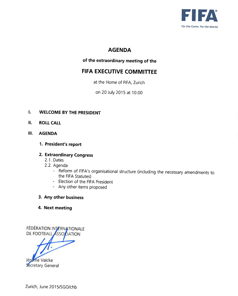 AGENDA of the extraordinary meeting of the FIFA EXECUTIVE COMMITTEE at the Home of FIFA, Zurich