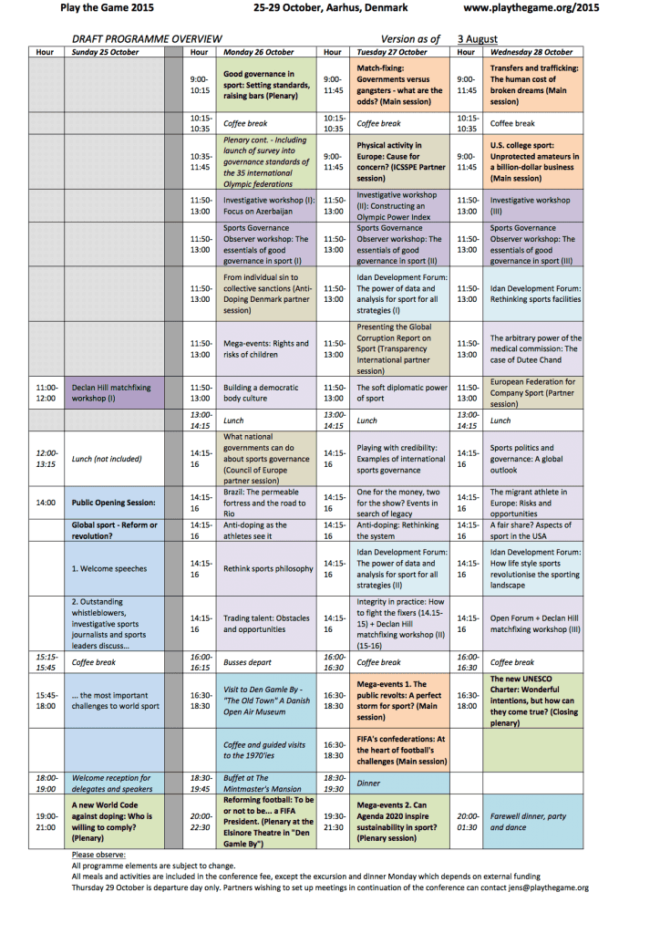 Play The Game 2015 - Preliminary Programme PTG2015