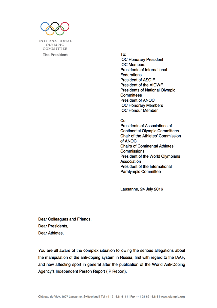 letter to IOC Members, IFs, NOCs EB, regarding decision July 23 - page 1/2
