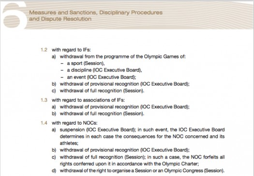 Olympic Charter, #6: Measures and Sanctions, Disciplinary Procedures and Dispute Resolution