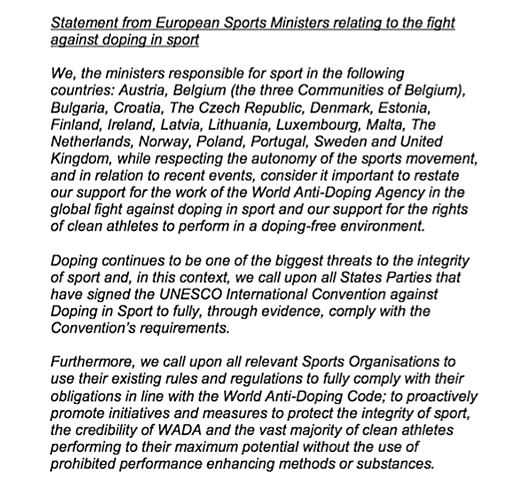 Statement from European Sports Ministers relating to the fight against doping in sport